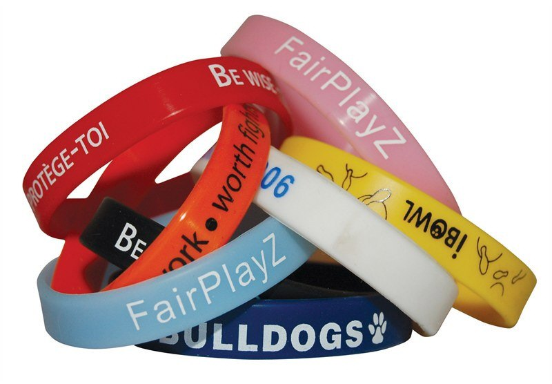 Printed Silicone Wristbands Personalised With Your Logo Design